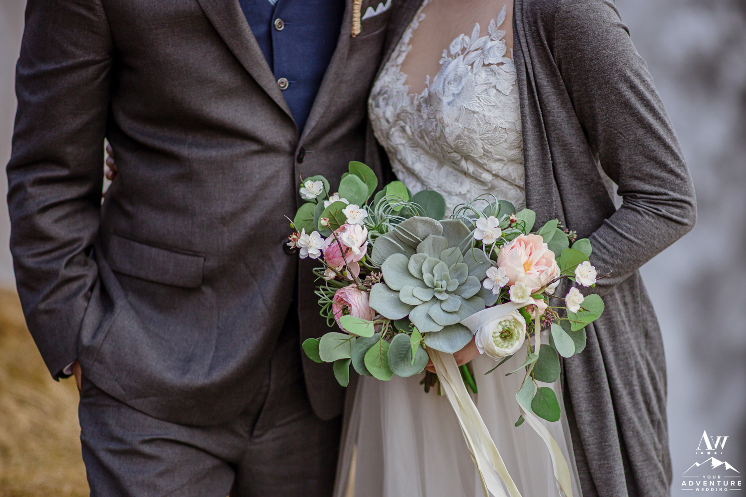 Closeup of Iceland Elopement Bouquet