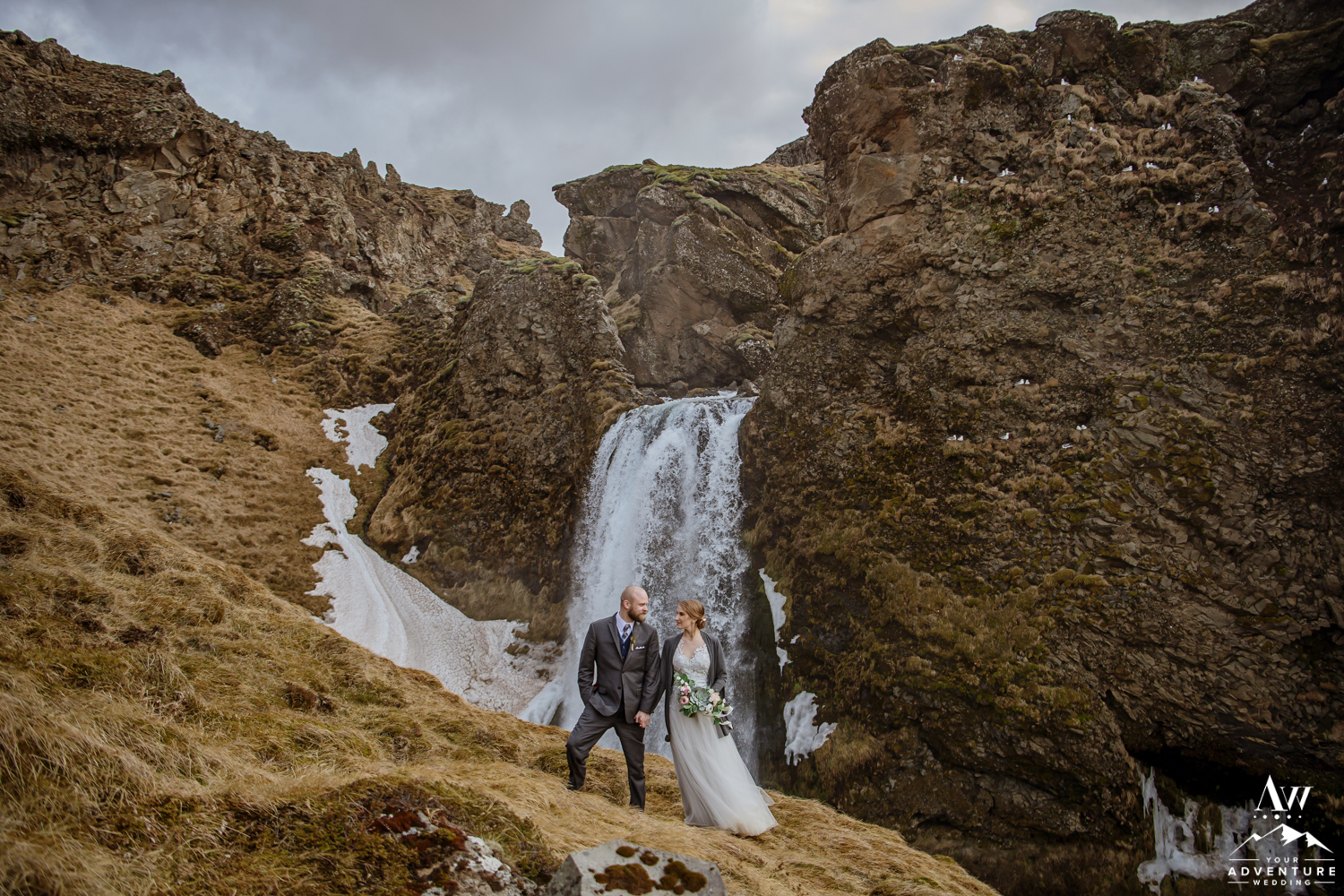 Iceland Elopement Couple Looking at each other