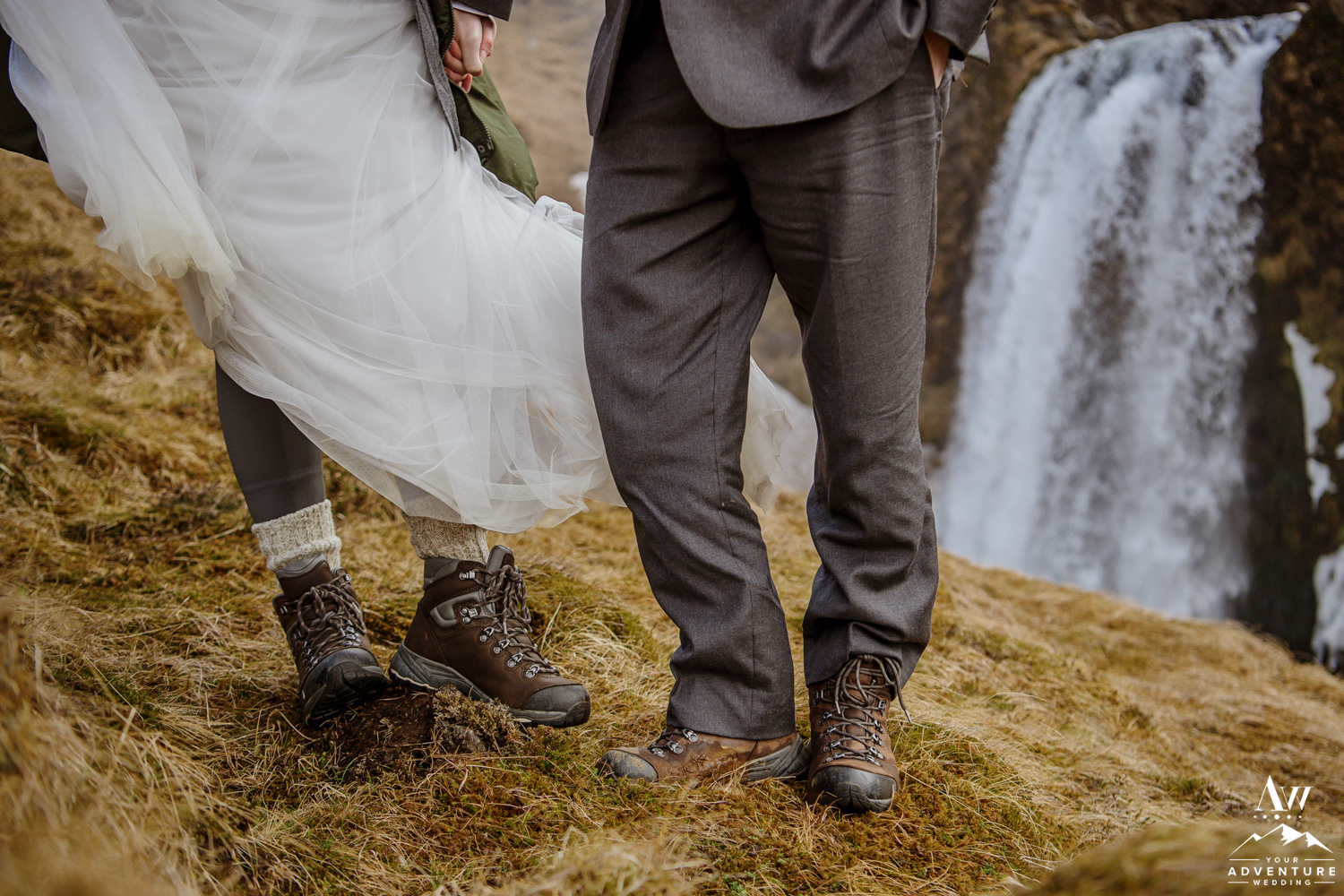 Closeup of Hiking Boots on Iceland Elopement Day