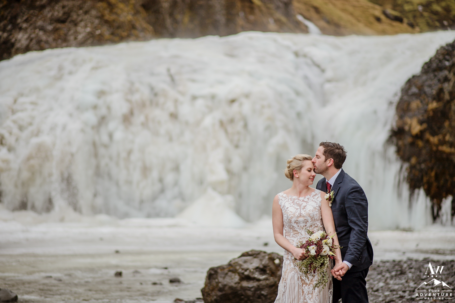 Iceland Frozen Waterfall Wedding Photos