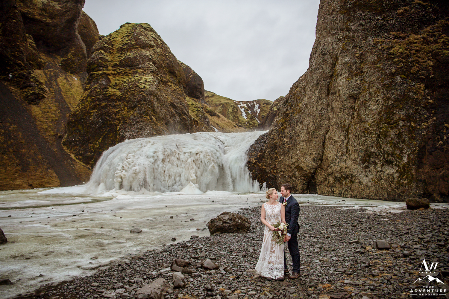 Romantic Iceland Wedding photos at the frozen waterfall