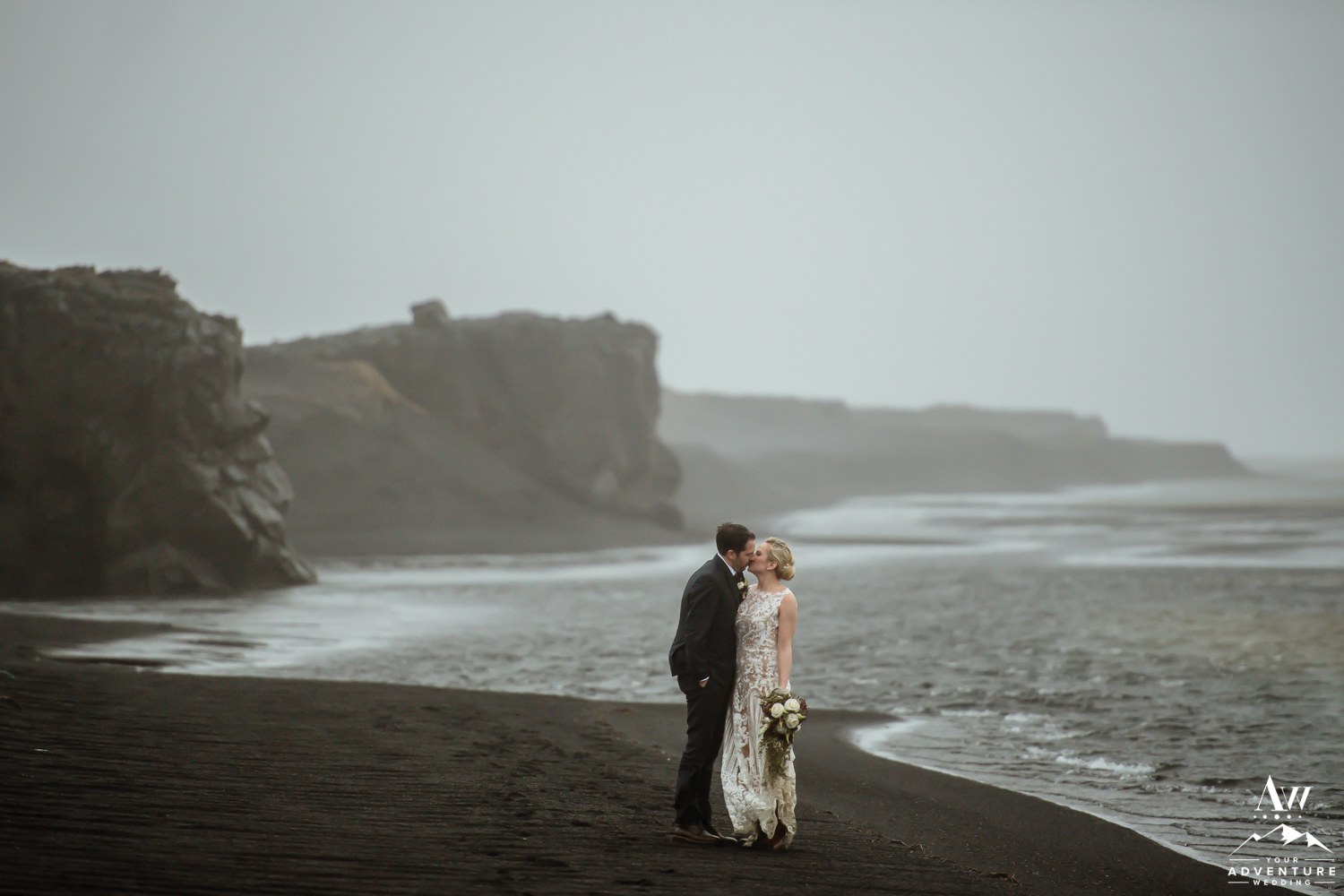 Couple kissing after their Iceland Elopement