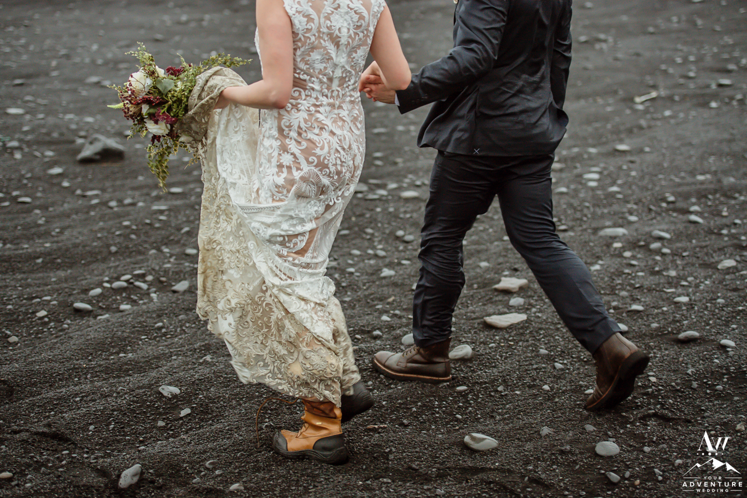 Iceland Elopement Details of a couple walking