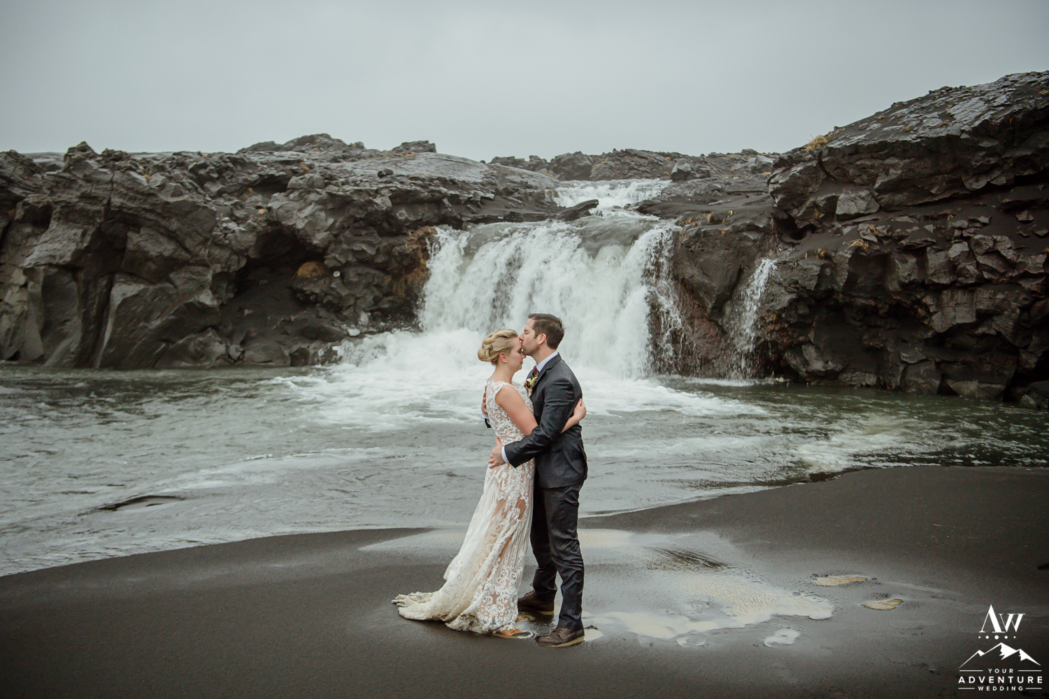 Black Sand Beach Waterfall in Iceland