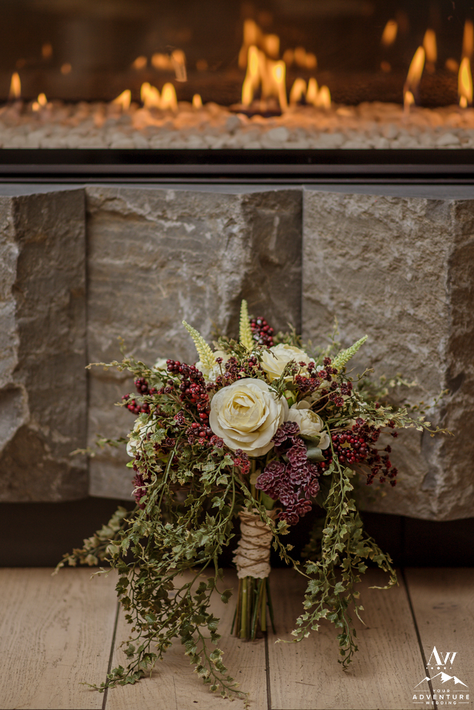 Iceland Wedding Bouquet in front of a fireplace