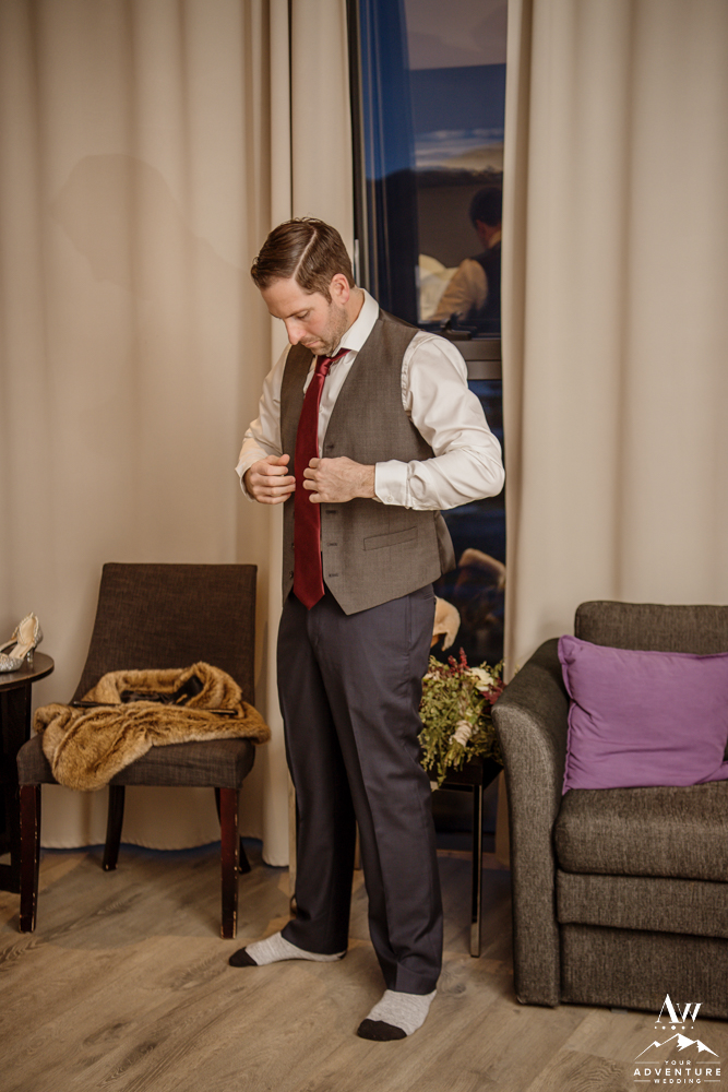 Groom Getting Ready Iceland Elopement