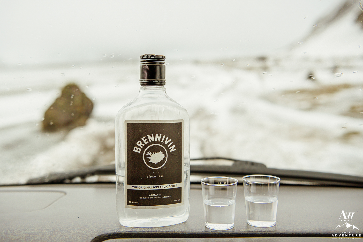 Icelandic Brennivín Shots on Dash of Super Jeep