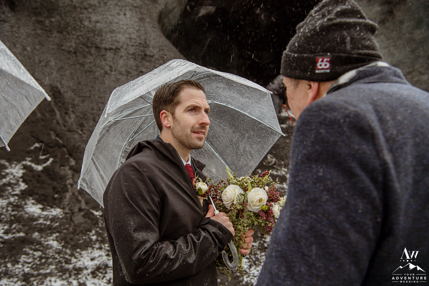 Groom before his ice cave elopement
