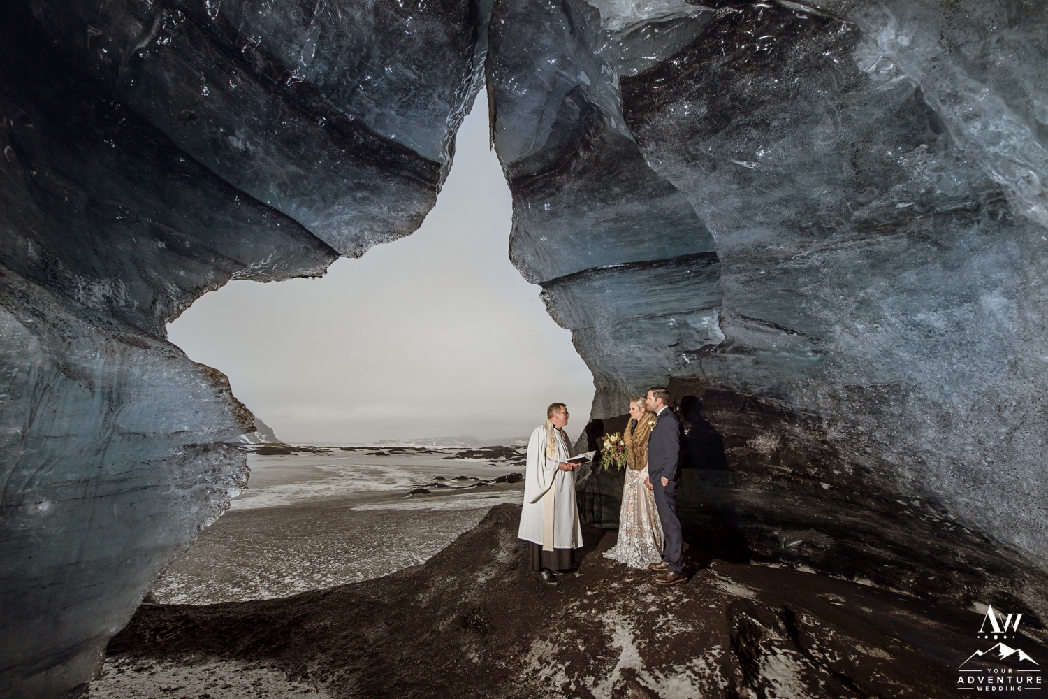 Wedding Ceremony inside of an Ice Cave in Iceland
