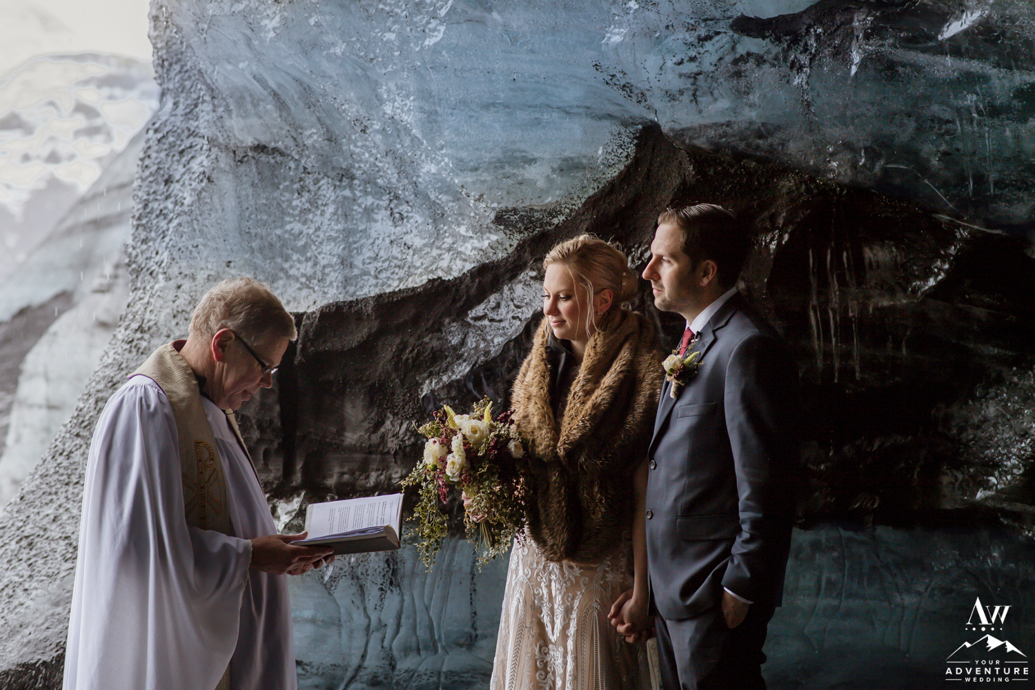 Iceland Wedding Ceremony in an Ice Cave