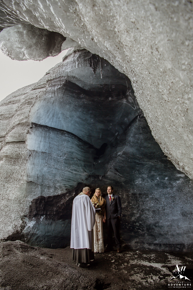 Couple inside of an Ice Cave during their wedding