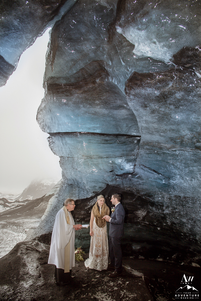 Exchanging rings in an ice cave in Iceland