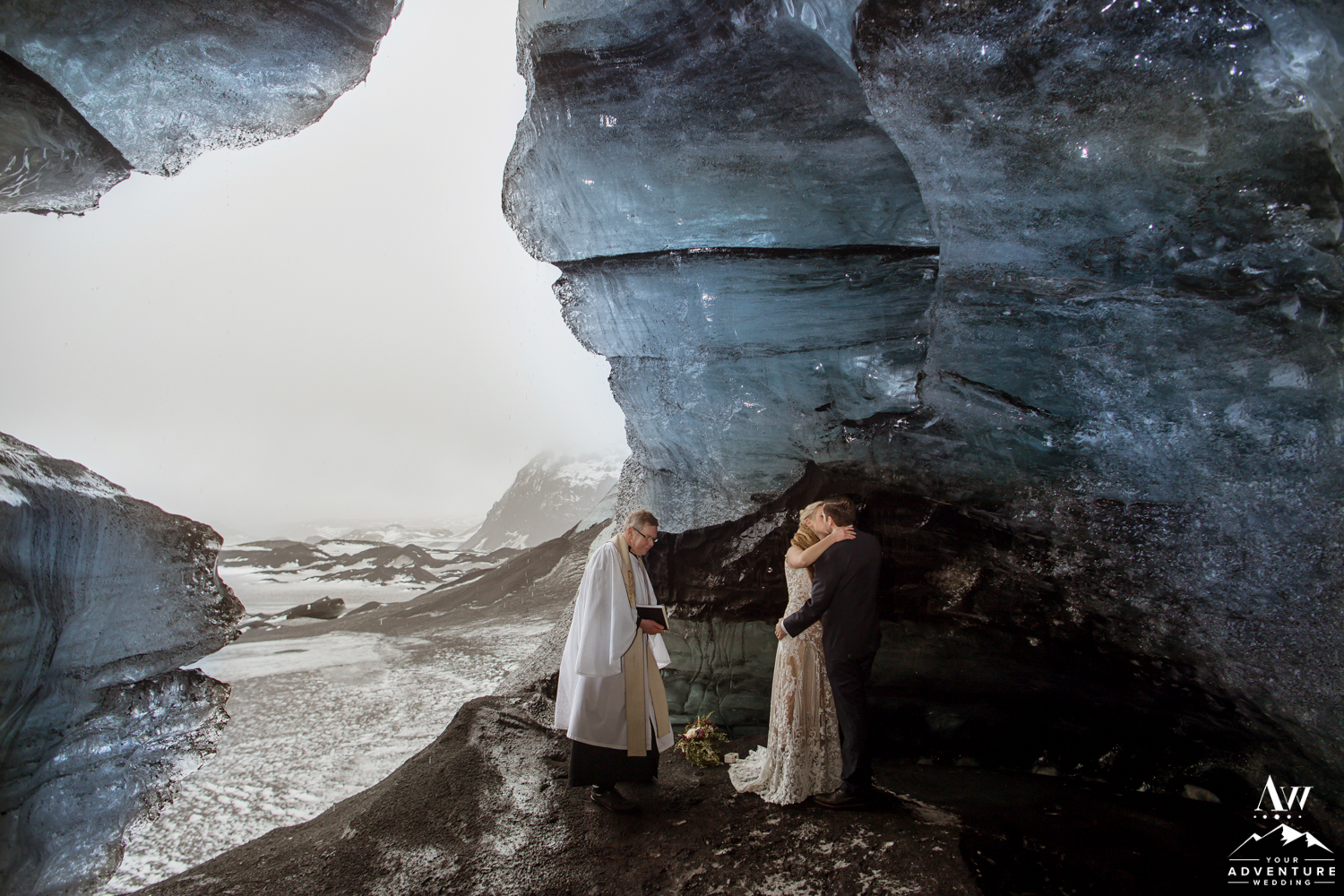 Iceland Wedding Kiss inside of an Ice Cave