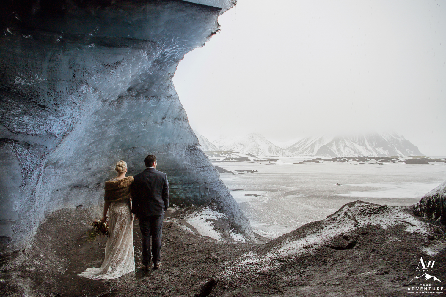Couple during an adventure wedding in Iceland
