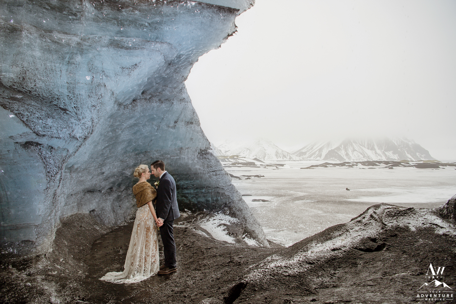 Intimate Ice Cave Wedding Photos
