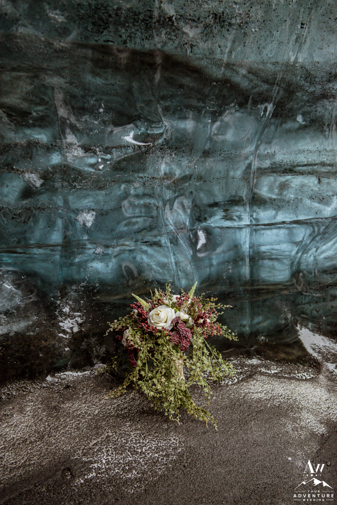 Iceland Wedding Bouquet inside of an ice cave