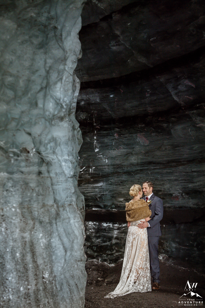 Ashley and David during their elopement inside of an Ice Cave
