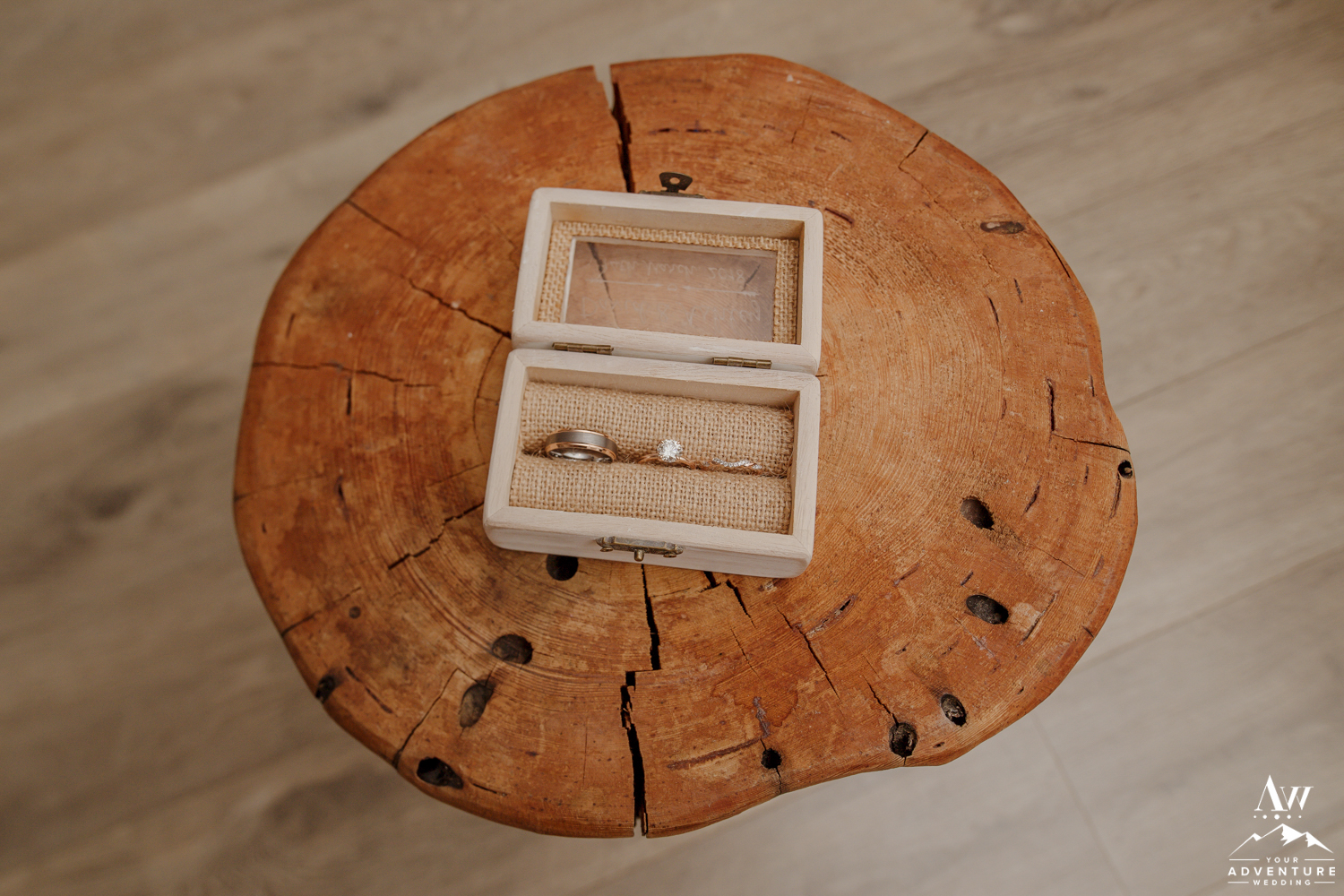 Iceland Wedding Rings in a burlap box