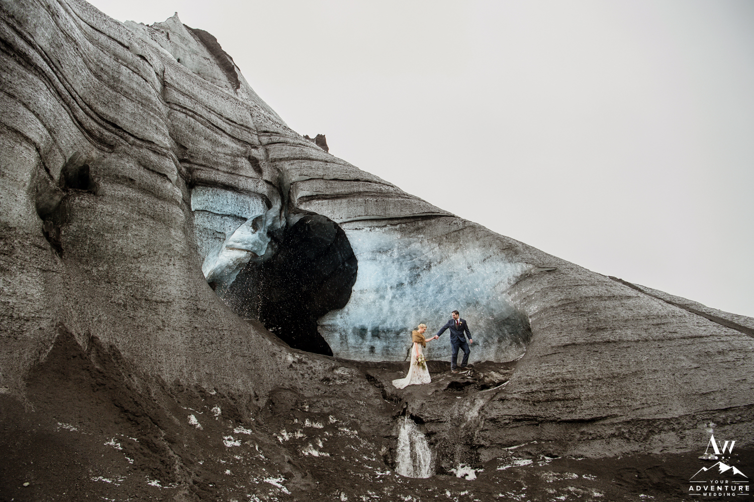 Iceland Wedding Photos on the outside of an Ice Cave