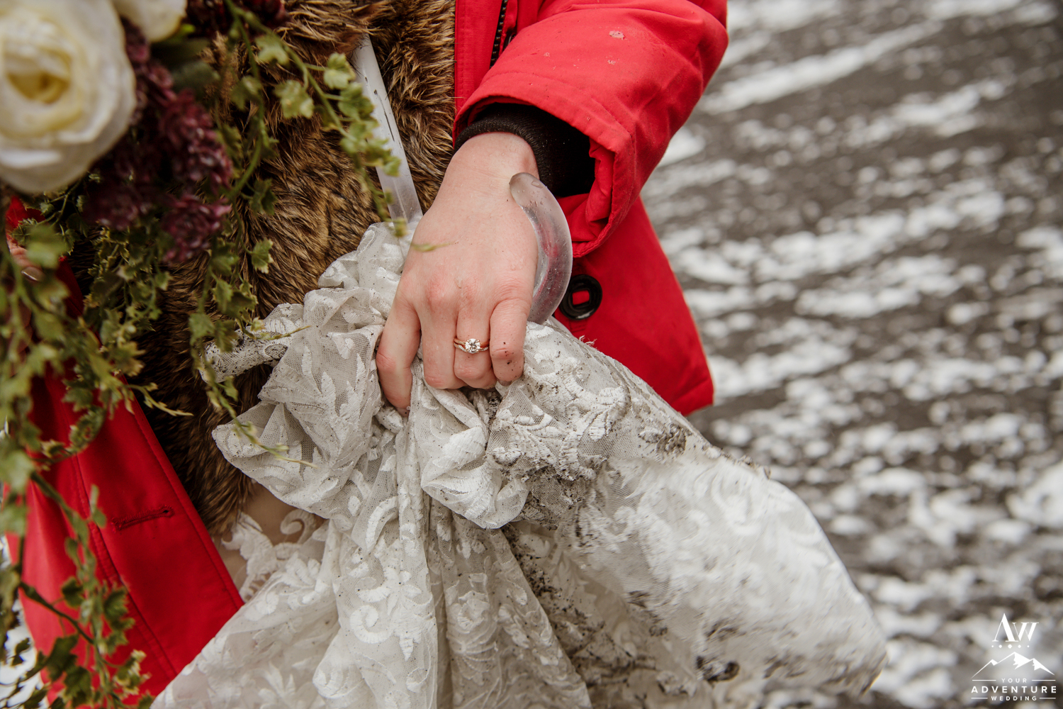 Close Up of Iceland Wedding Ring and Dress