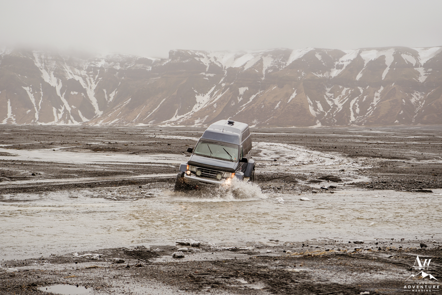 Super Jeep Crossing a River in Iceland