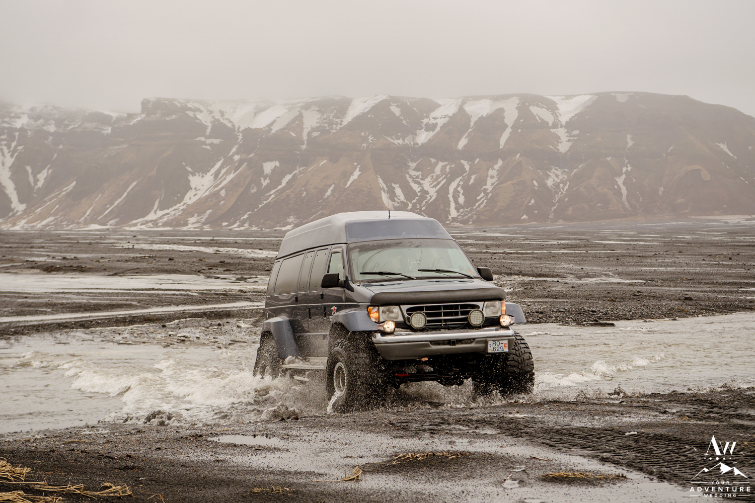 Iceland Wedding Super Jeep Crossing a River
