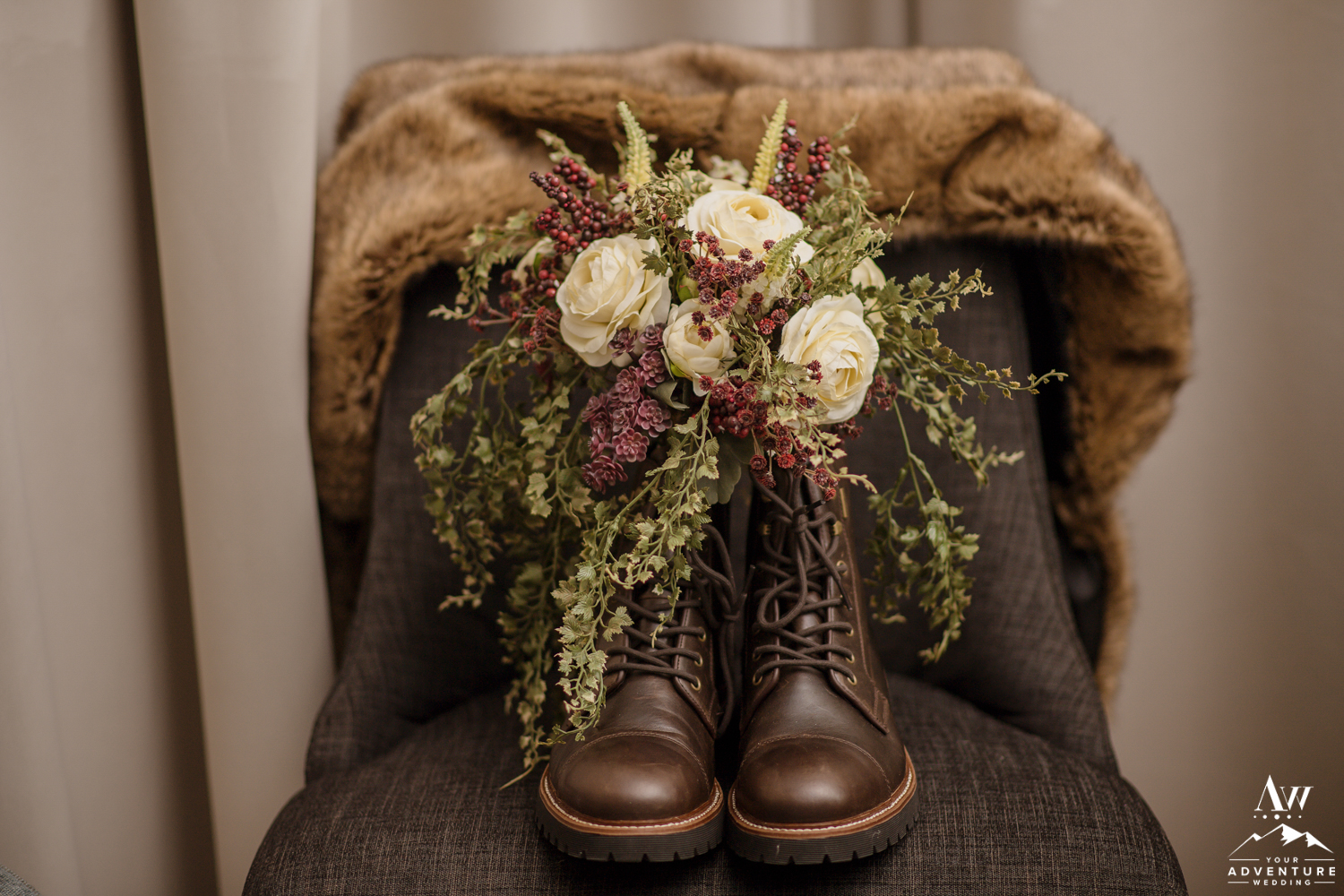 Iceland Wedding Boots and Bouquet