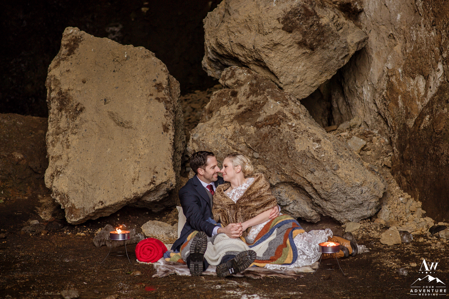 Couple enjoying an Iceland Luxury Wedding Picnic