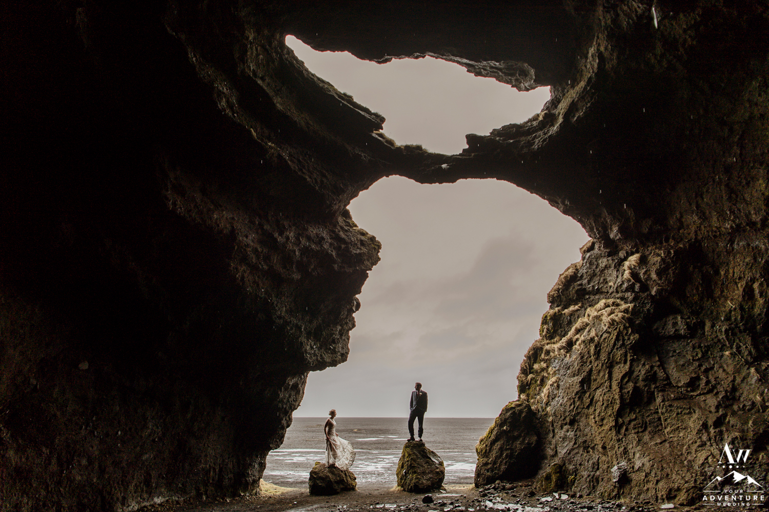 Wedding Couple inside of a cave in Iceland