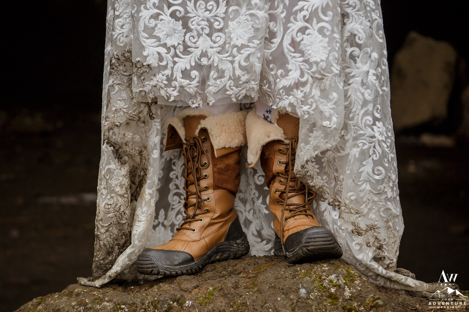 Iceland Wedding Boots under Dress