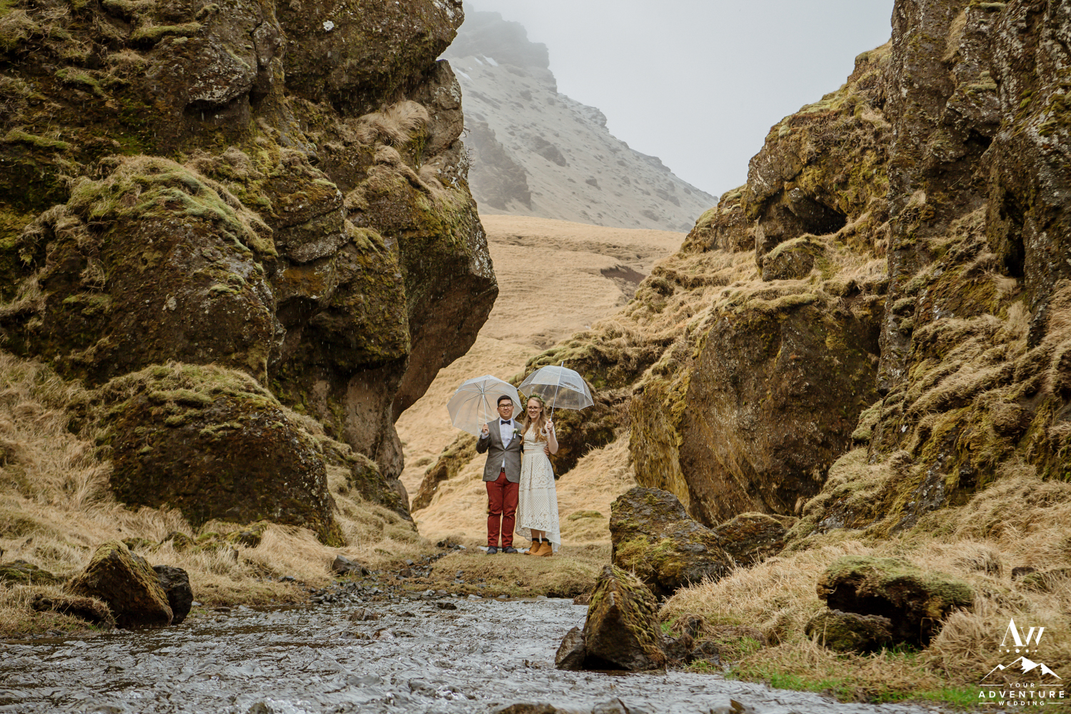 Iceland wedding couple in a private narrow canyon