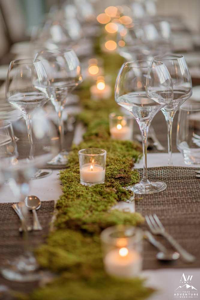 Iceland Wedding Reception Moss and Candle Decor