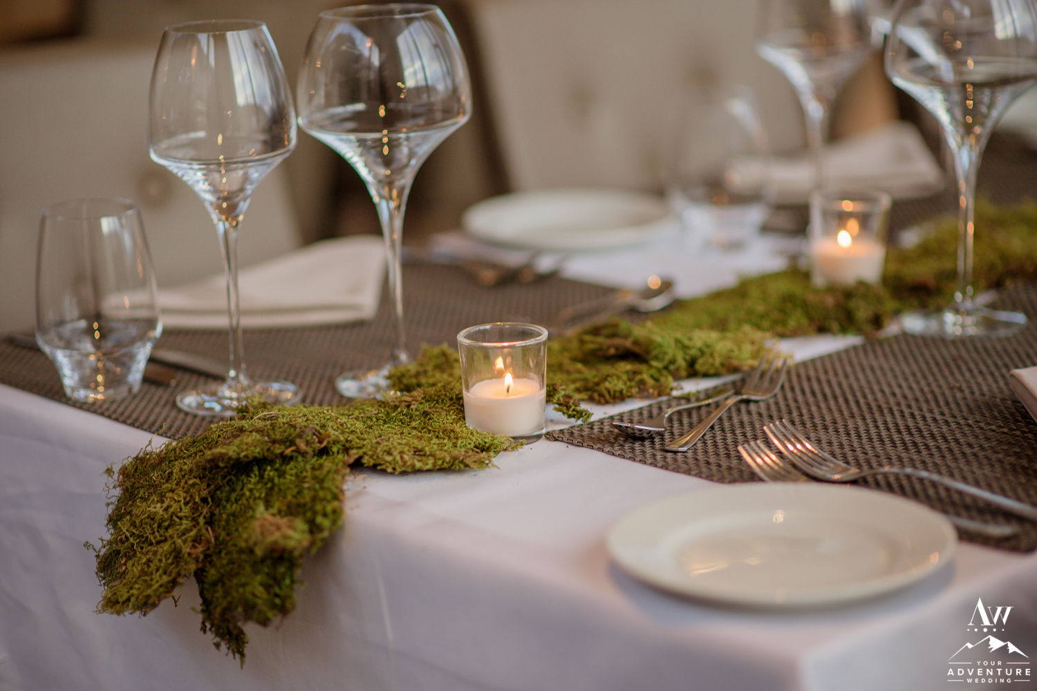Moss and Candles Iceland Wedding Reception Setup