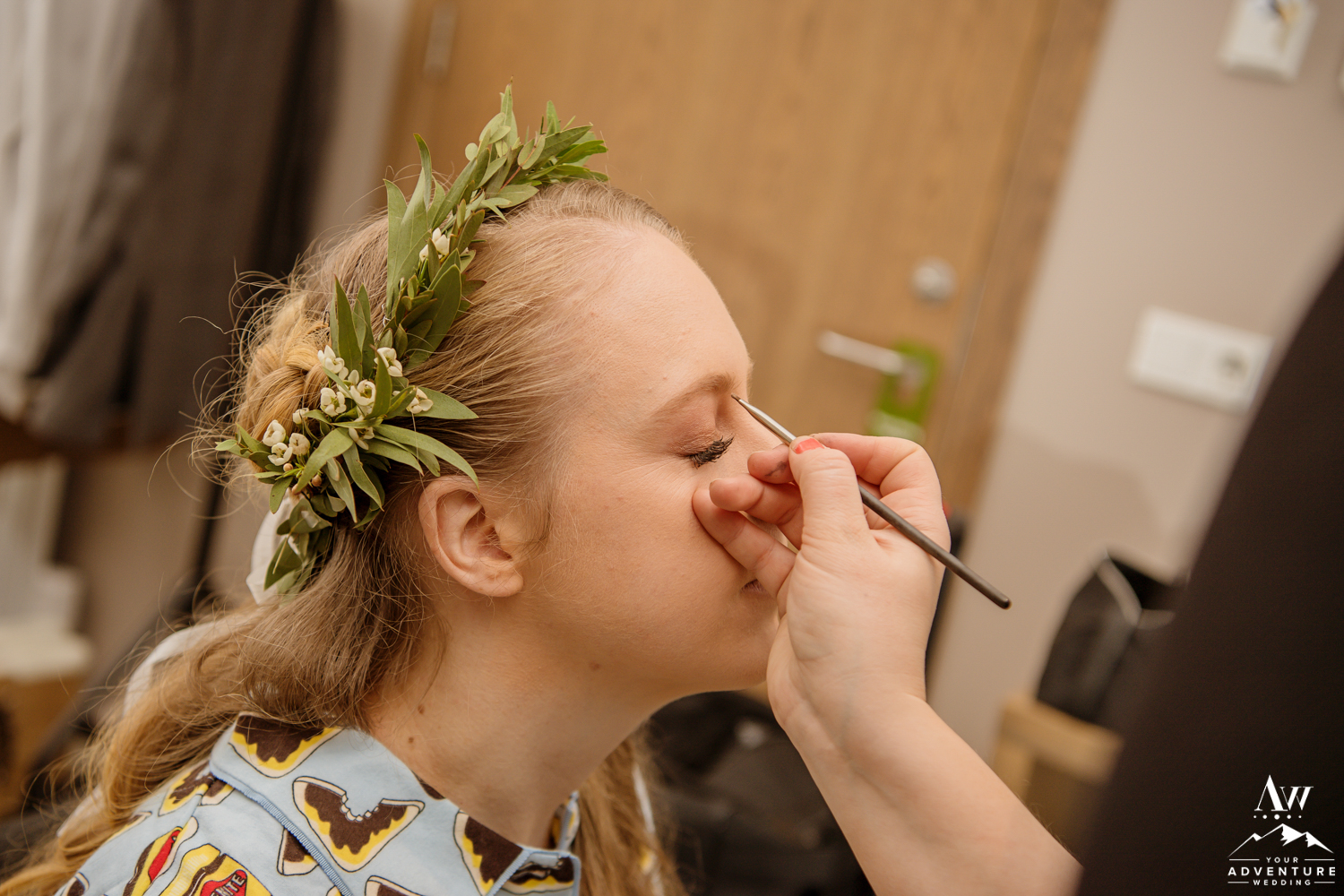 Bride getting her makeup done on Iceland Wedding Day