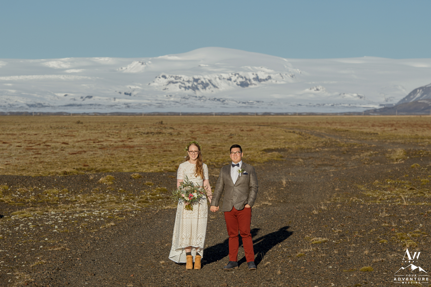 Iceland March Wedding Photos SNow covered mountains