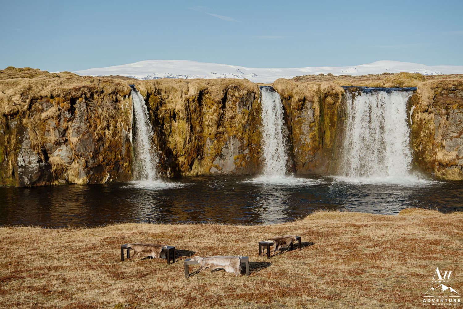 Private Waterfall Wedding Ceremony Setup in Iceland