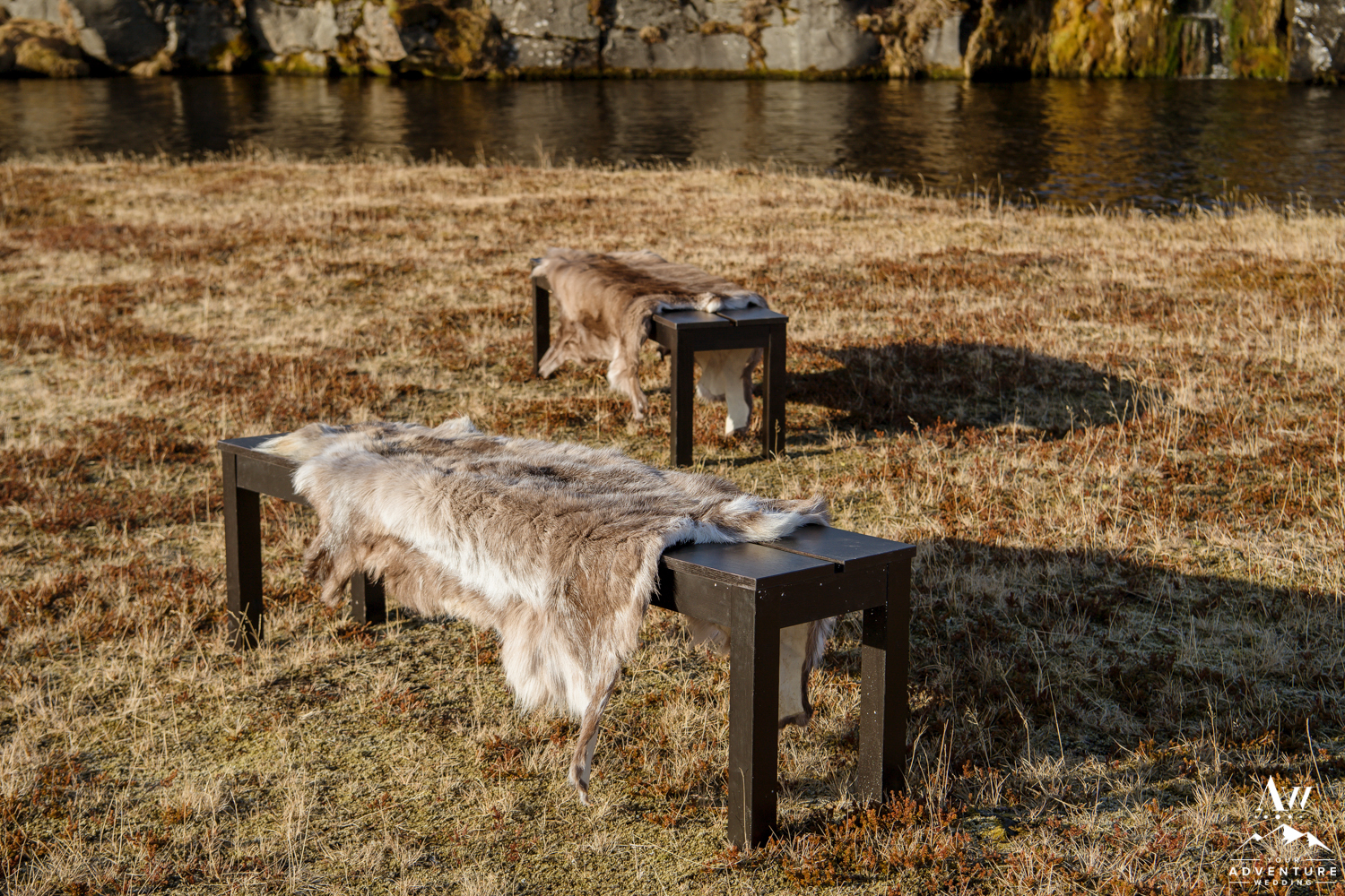 Black Benches with Reindeer Furs for Iceland Wedding