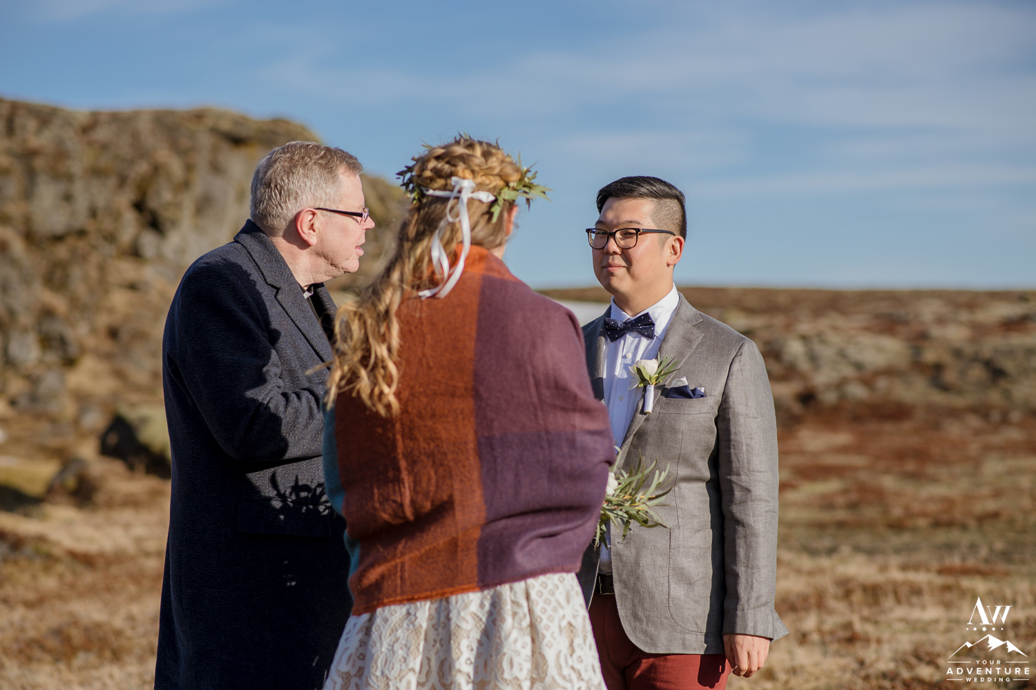 Groom Smiling at His Bride Iceland Wedding Ceremony