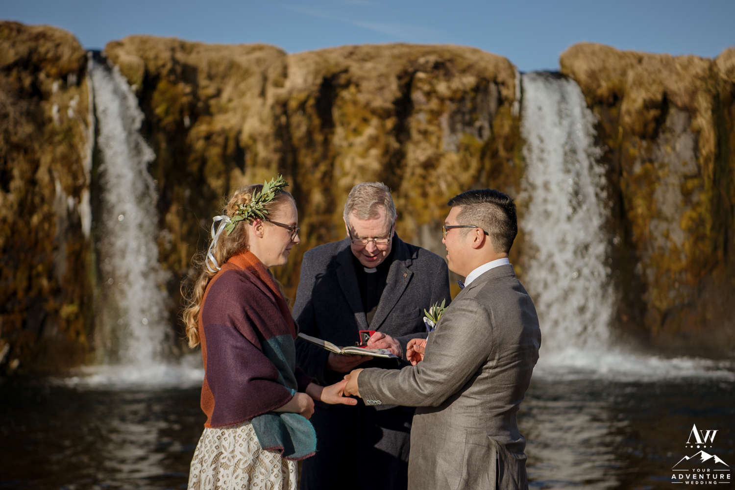 Iceland Wedding Ceremony at a Secret Waterfall