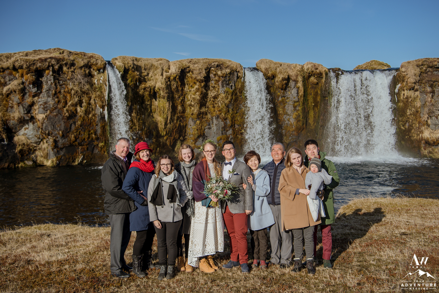 Iceland Wedding Guests at Private Waterfall