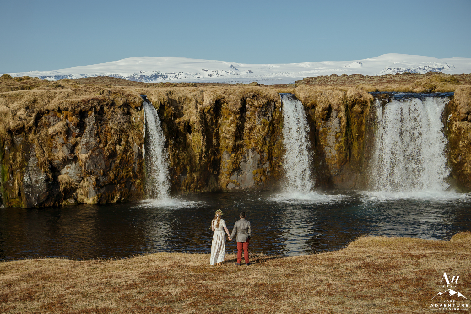Bride and Groom at Iceland Private Waterfall