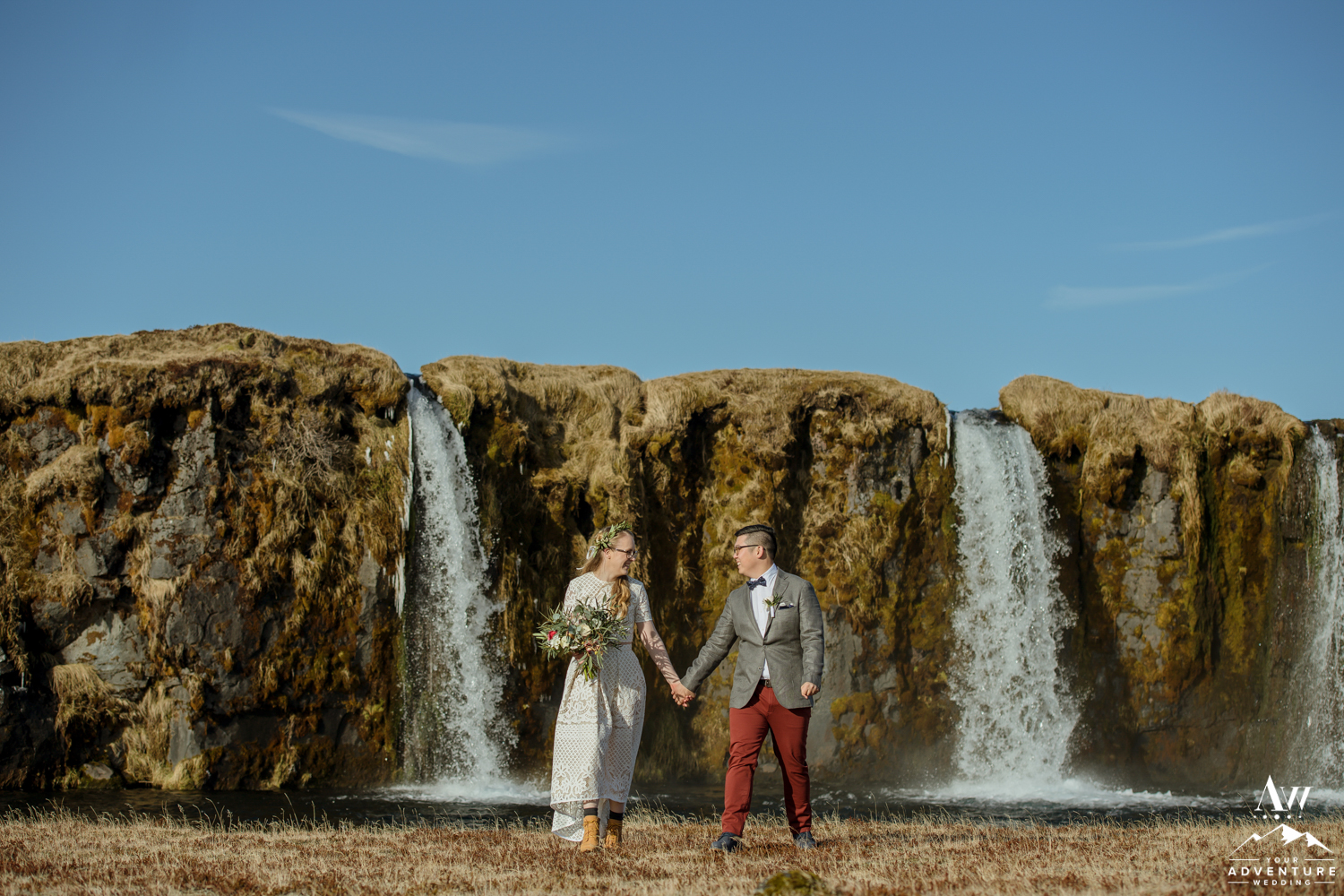 Iceland Wedding Couple at secret waterfall
