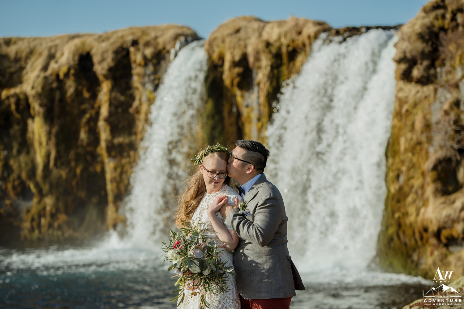 Groom giving his Iceland Bride a Forehead Kiss