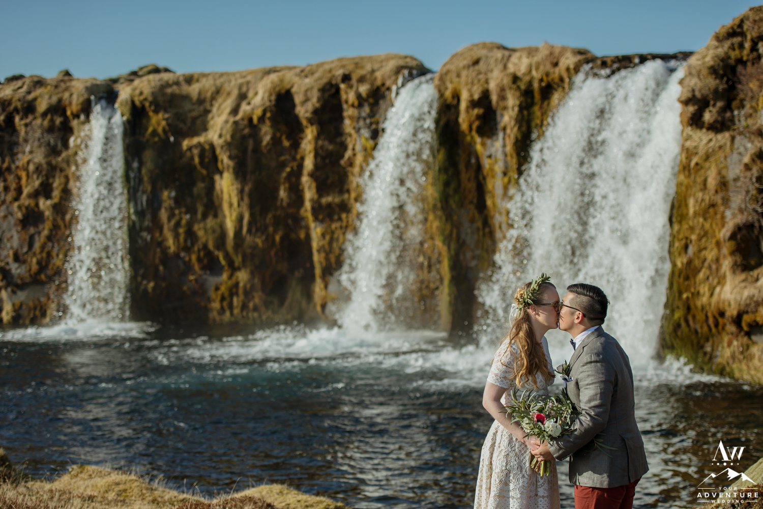 Iceland Waterfall Wedding Photo Kissing