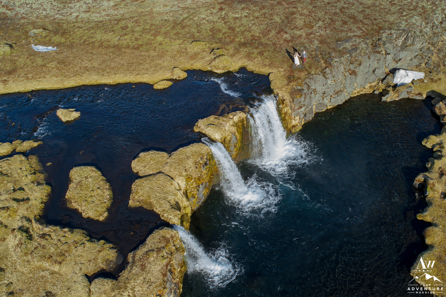 Iceland Wedding Drone Photo at Private Waterfall