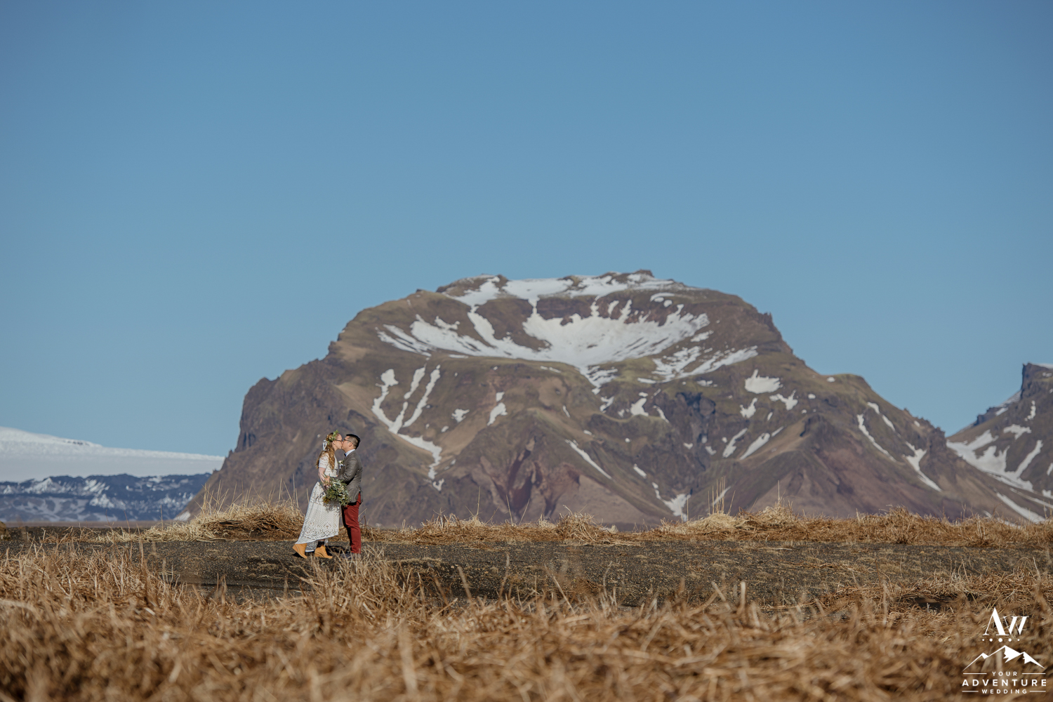 Couple kissing during Iceland wedding photos