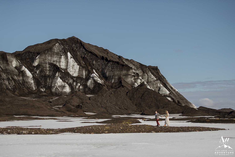 Romantic Wedding photos in Iceland at a glacier