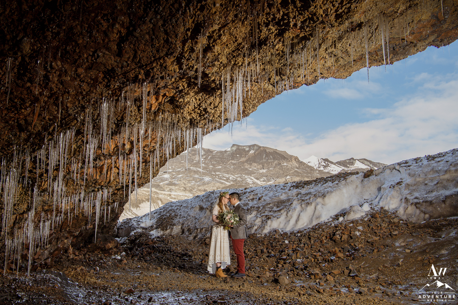Iceland Wedding Cave Location with Glacier View