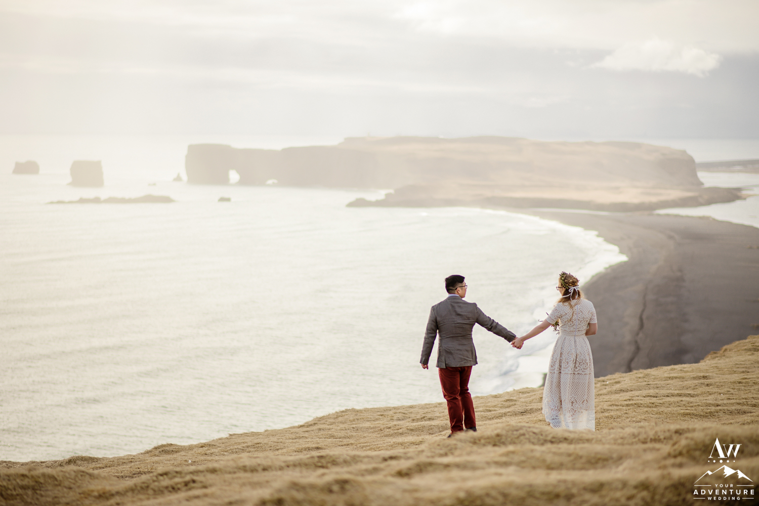 Groom Leading his Bride on Iceland Wedding Day