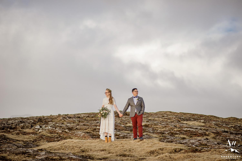 Adventure Wedding Couple on a mountain top